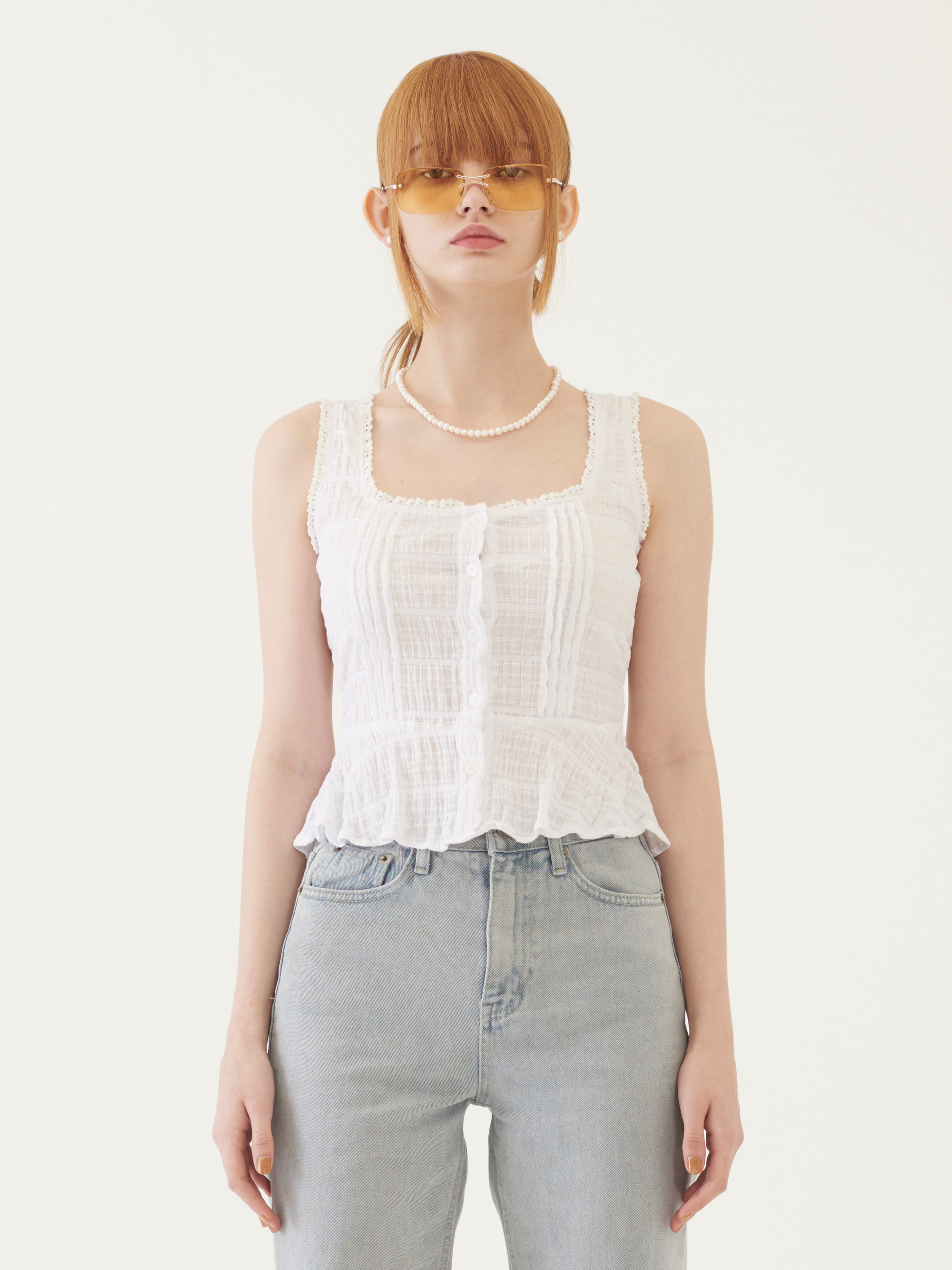 SLEEVELESS BUTTONED TOP (WHITE)