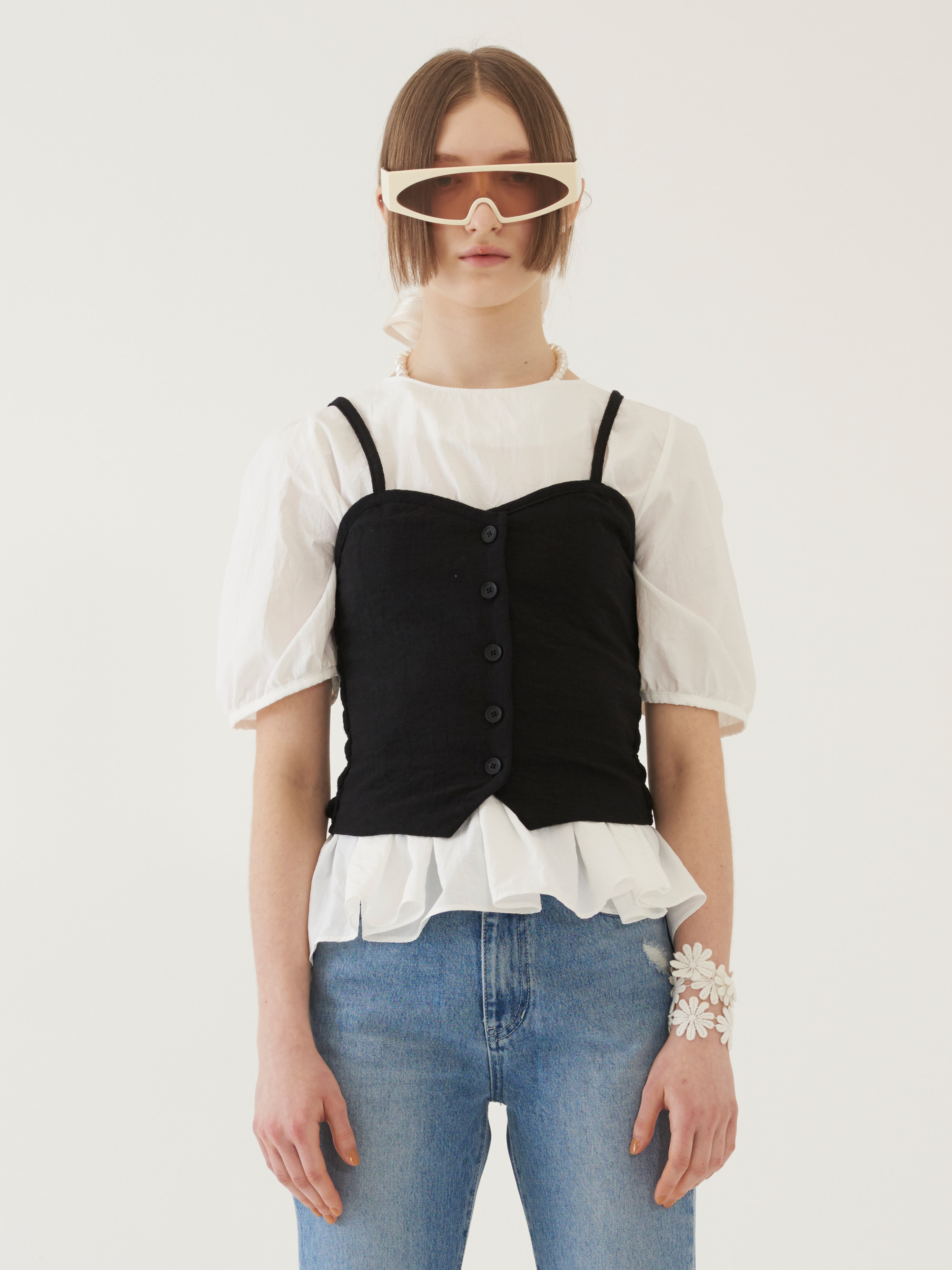 BUTTONED BUSTIER (BLACK)
