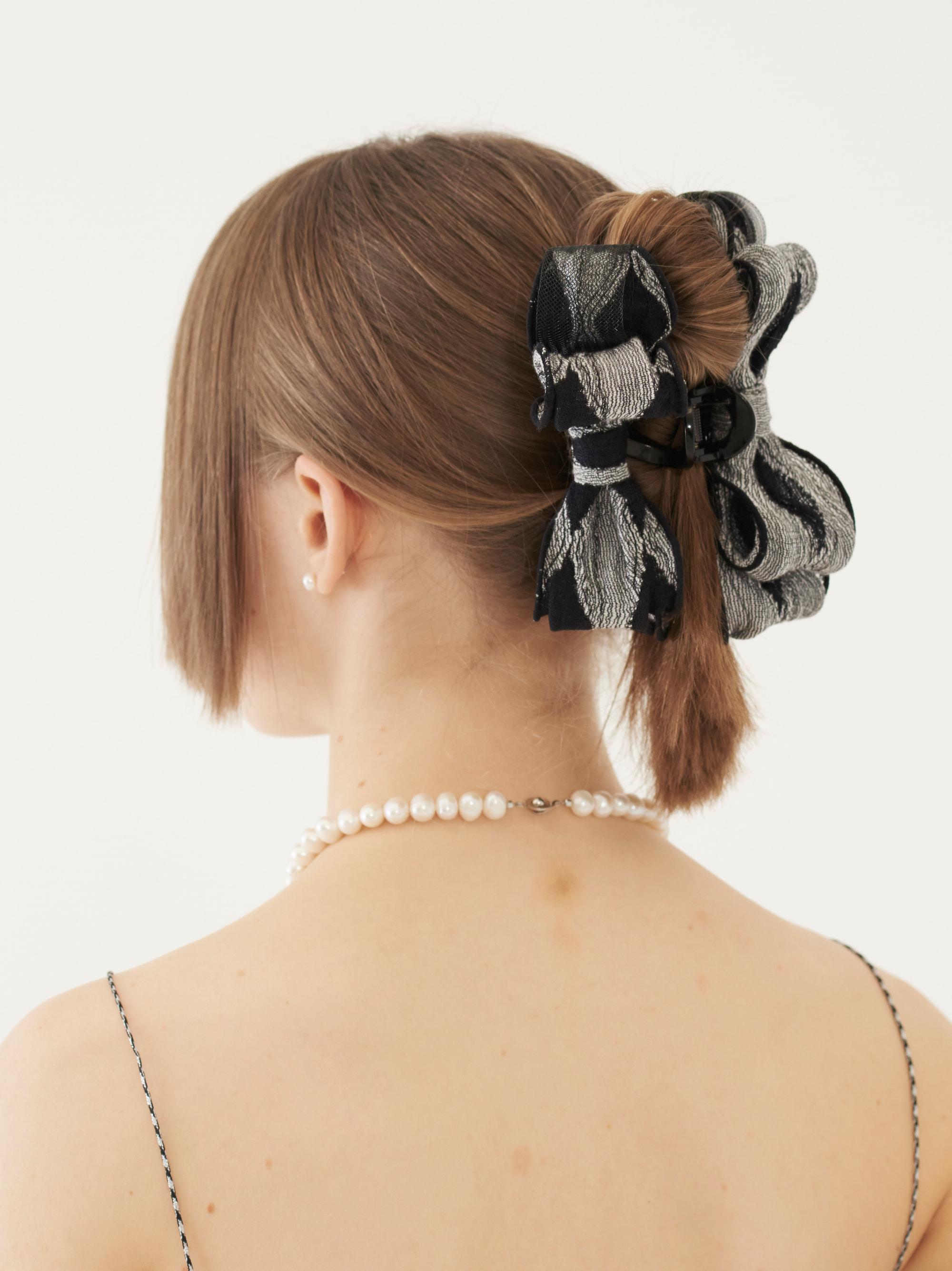 RIBBON HAIR CLIP (GRAY)