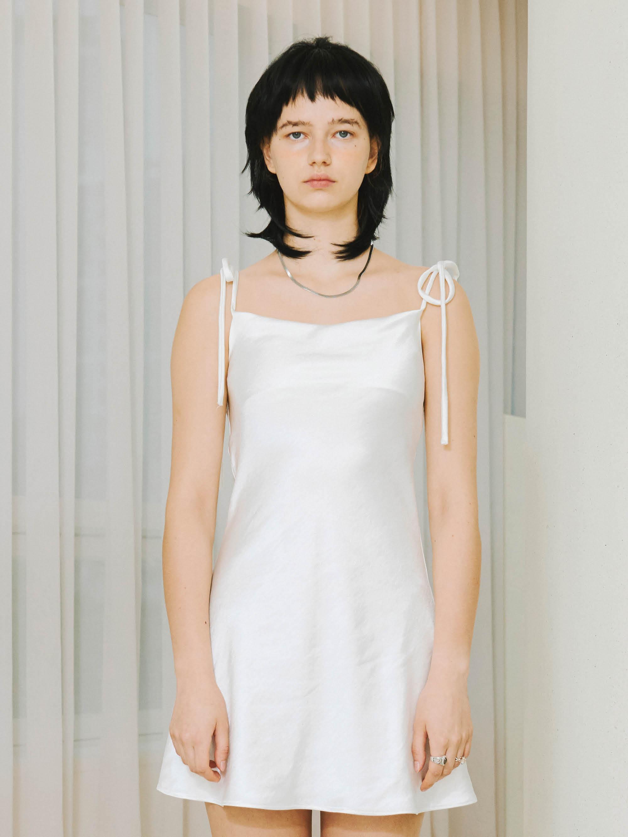 [Ship date: 9/24] SILKY SATIN MINI DRESS (WHITE)