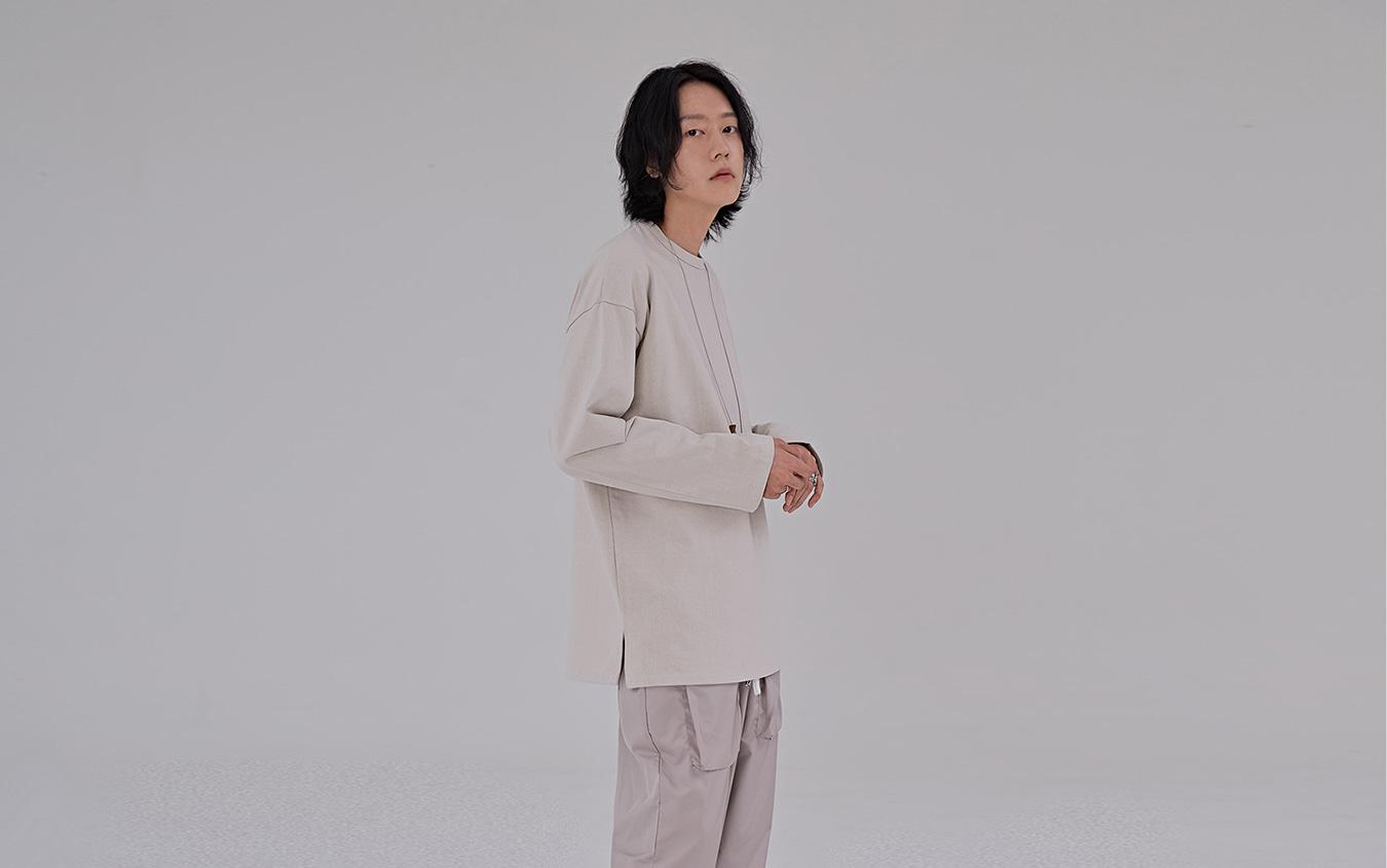 ドロップショルダー綿Tシャツ