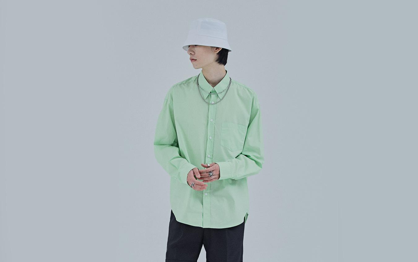長袖前釦シャツ