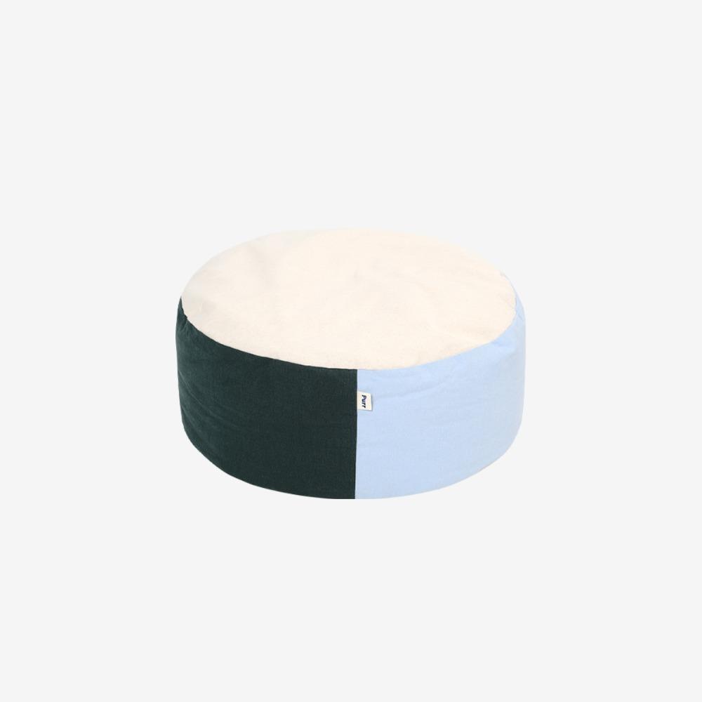 PANCHO POUF COLOR BLOCK - SINGLE GREEN/SKYBLUE