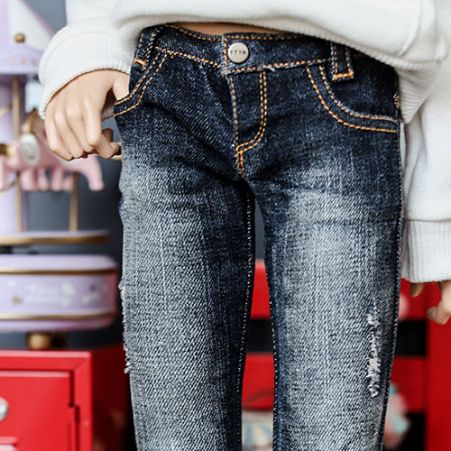 SD17 New Washing Damage Jeans - D.Blue