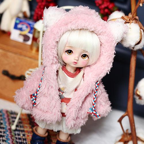 Bear hooded fur jacket - Pink