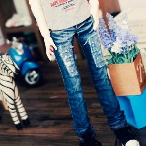 SD13 Boy Destroyed Washing Slim Jeans - Blue
