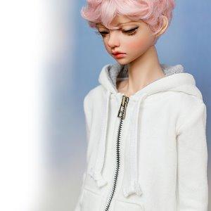 SD13 Boy Basic Zipup Hooded T - White