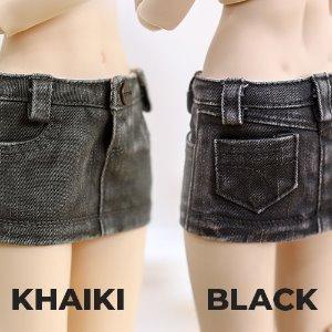 MSD & MDD Stone Washing Cotton Skirt - Khaki, Black