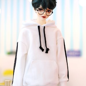 SD17 Three-Line Hooded T - White