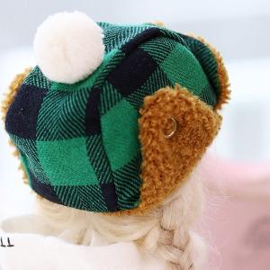 16CM Checked winter hat - Green