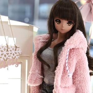 SD13 GIRL&Smart Doll Bear hooded fur jacket - Pink