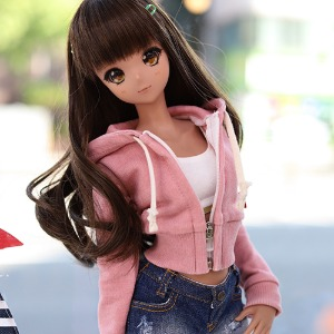 SD13 GIRL & Smart Doll Pigment Crop Zipup Hooded T - Pink