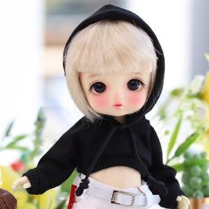 16cm Cute Crop Hooded-T - Black