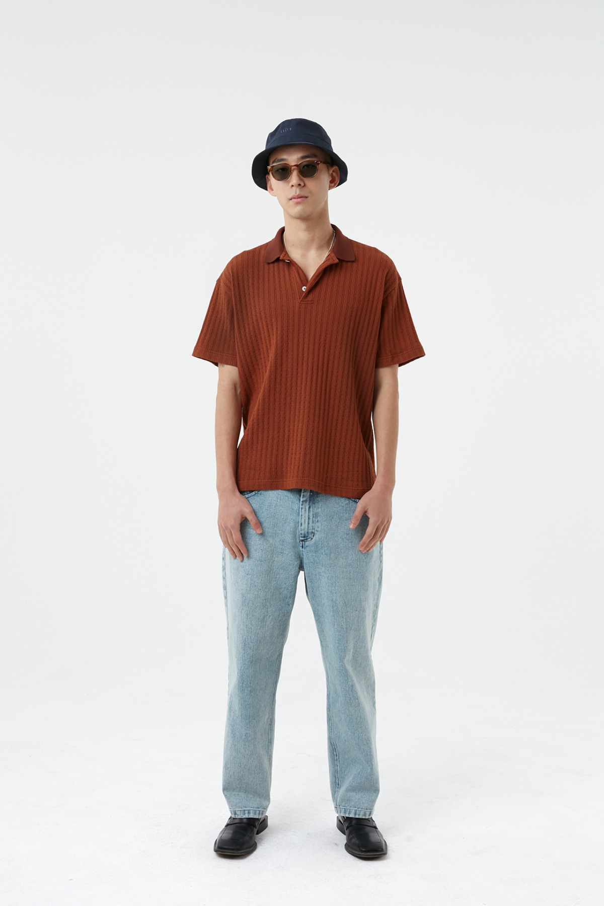 CABLE POLO T-SHIRT_BROWN
