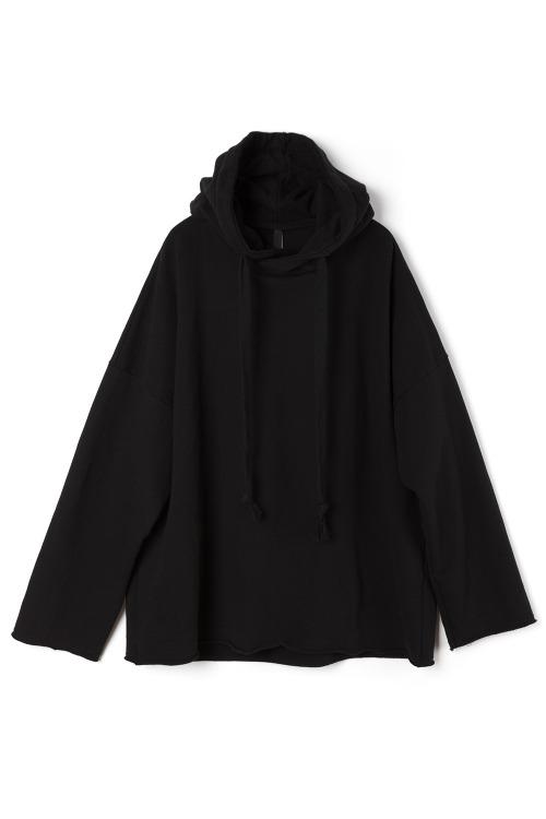 [F/W] Oversized Raw Edge Hoodie [Black]