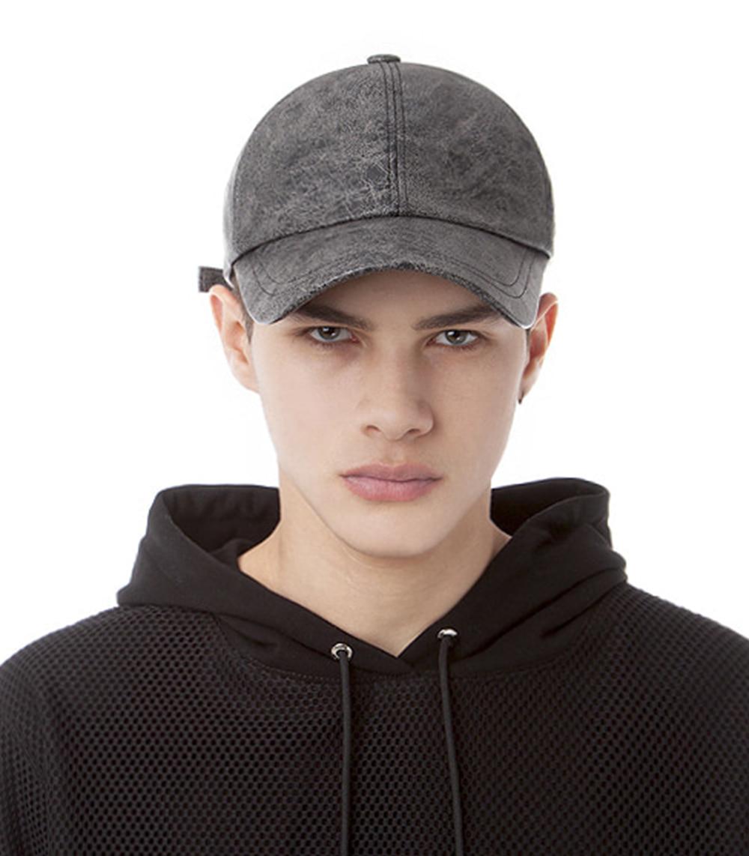 CRACKED LEATHER BALL CAP (BLACK&GRAY)