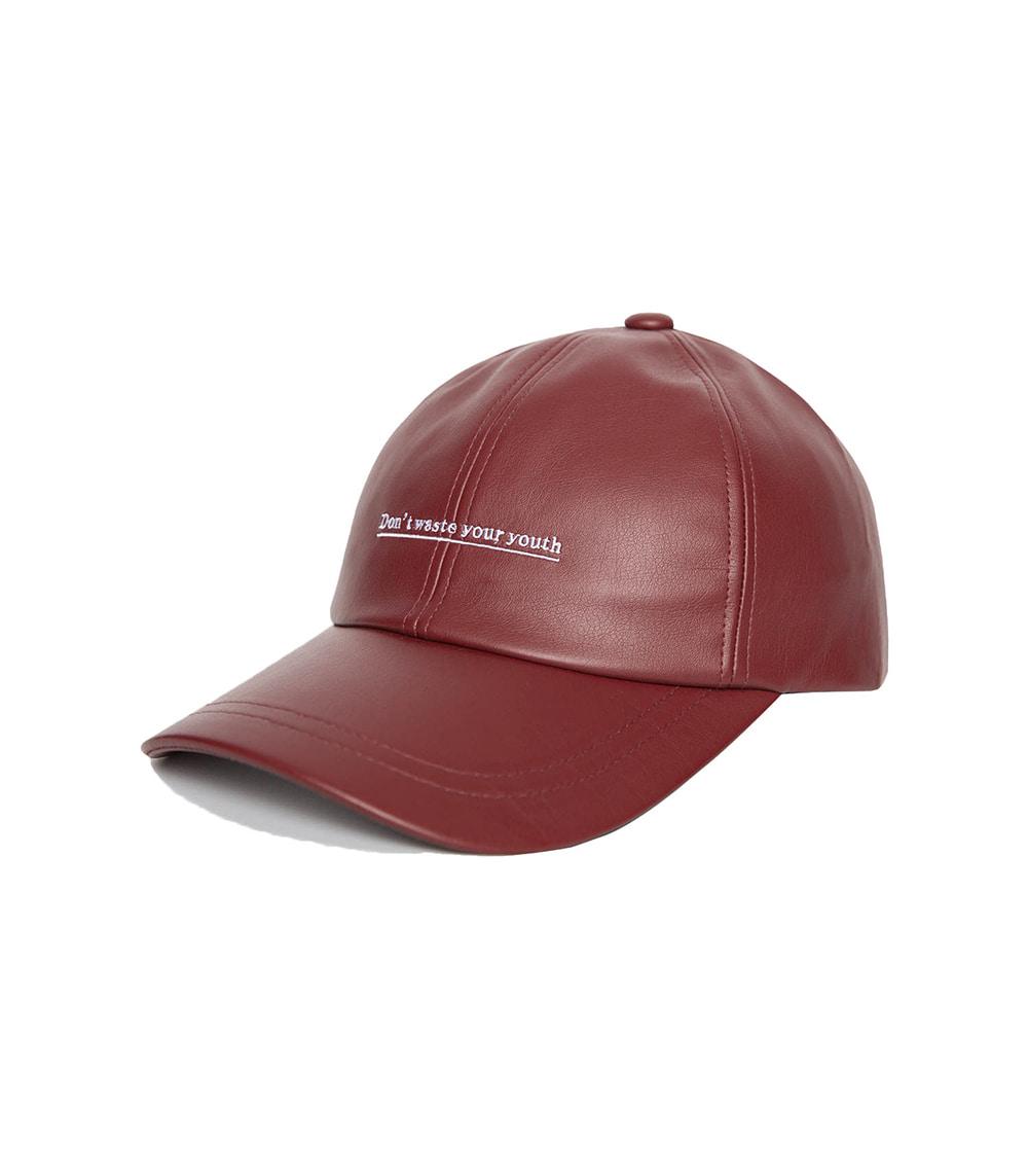 D.W.Y.Y LEATHER BALL CAP (WINE)