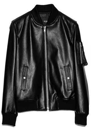 [206 HOMME BY JLDCLASSIC]MA-1 ITALY SHEEP-SKIN BLACK LEATHER(LT-127)
