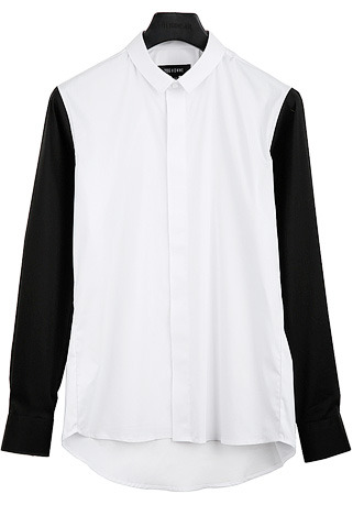 [206 HOMME]2020 S/S NEW COLLECTIONSLIM-COLLAR BLACK SLEEVE SHIRTS(SH-099)