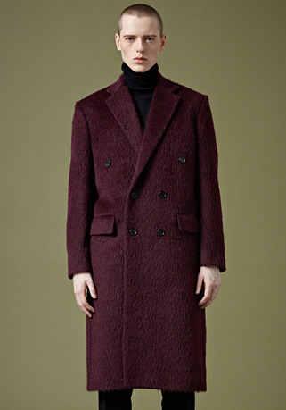 """[206 HOMME BY JLDCLASSIC]""""BOHEMIANO"""" BURGUNDY-WINE DOUBLE LONG COAT(ALPACA FROM ITALY)(CT-258)"""