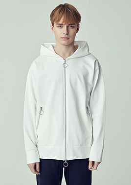 [206 HOMME]2019 S/S NEW COLLECTIONSEMI-OVER FIT™ O-RING TWO-WAY WHITE ZIP-UP HOODED(UNISEX)(18SSTH-004WE)▶{당일배송 + 쇼룸 바로구매가능}◀