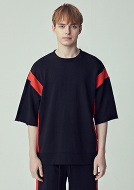 [206 HOMME]2019 S/S NEW COLLECTIONOVER-FIT™ BLOCK-EDGE MAN-TO-MAN RED T(UNISEX)(18SSTH-033BR)▶{당일배송 + 쇼룸 바로구매가능}◀