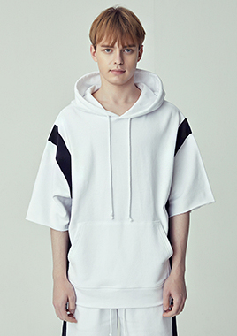 [206 HOMME]2018 S/S  NEW  COLLECTIONOVER-FIT™ BLOCK-EDGE WHITE HOODED(UNISEX)(18SSTH-011WB)▶{당일배송 + 쇼룸 바로구매가능}◀