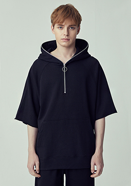 [206 HOMME]2018 S/S  NEW  COLLECTIONOVER-FIT™ BLACK HOODIE O-RING ZIPPER(UNISEX)(18SSTH-016BK)