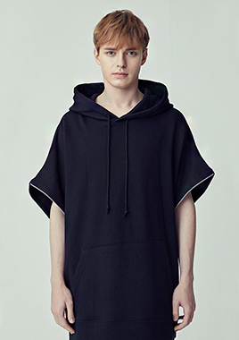 [206 HOMME]2018 S/S  NEW  COLLECTIONOVER-FIT™ TWO-WAY O-RING BLACK HOODED(UNISEX)(18SSTH-017BK)