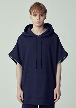 [206 HOMME]2018 S/S  NEW  COLLECTIONOVER-FIT™ TWO-WAY O-RING NAVY HOODED(UNISEX)(18SSTH-017NY)