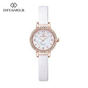 디유아모르 여성 가죽밴드시계 DAW3101L-WH 다이아몬드 시계