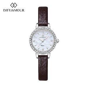 디유아모르 여성 가죽밴드시계 DAW3101L-D.BR 다이아몬드 시계