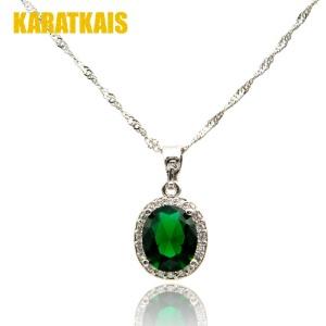 Aqua Gemstone 14K White Gold Necklace