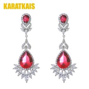 Red Wine Gemstone 14K White Gold Earring