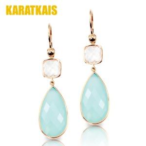 Aqua Color Gemstone 14K Earrings