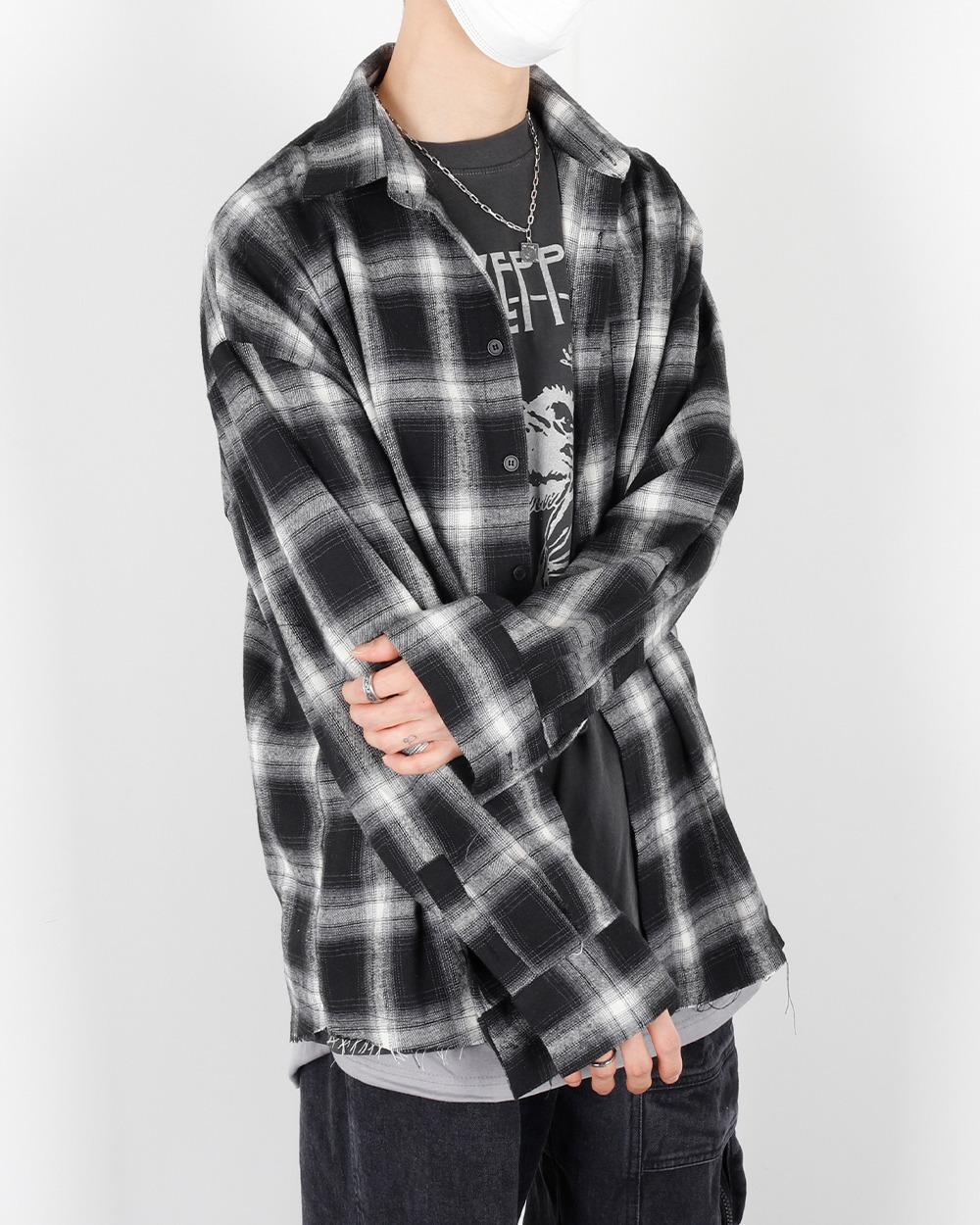 [Unisex] 디퍼 컷팅 오버 체크 셔츠