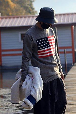 심플 성조기 니트 티셔츠