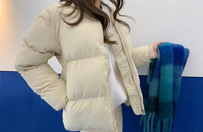 拉链门襟罗纹袖口绗缝保暖外套