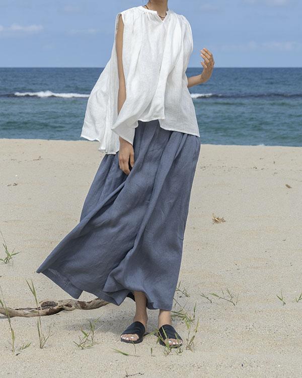 [nature] voluminous linen blouse