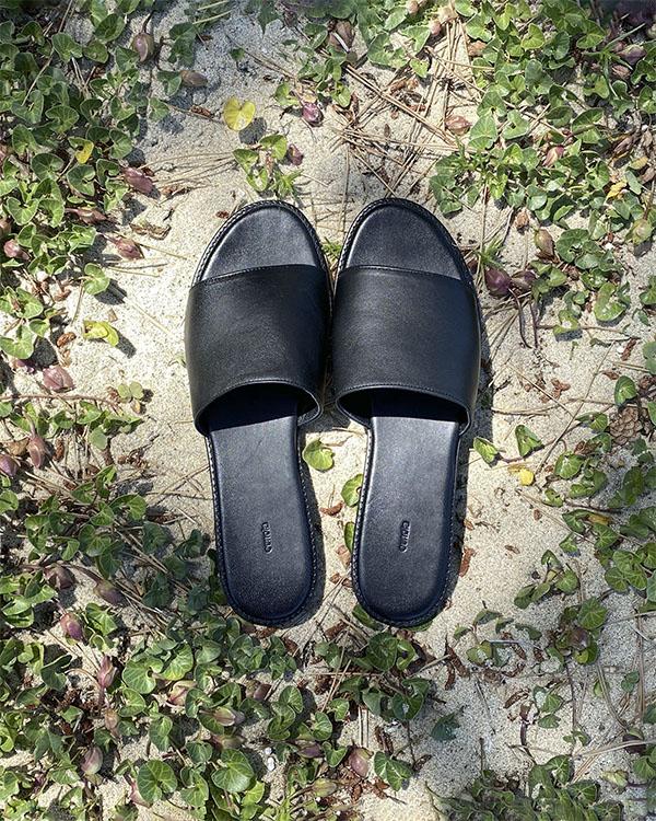 black leather slide