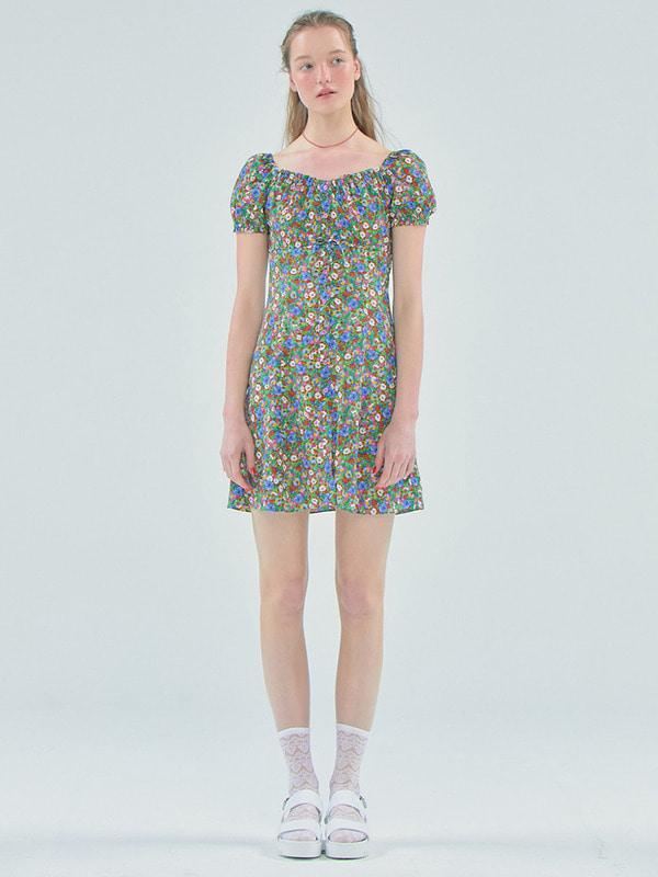 Floral shirring mini dress_Green