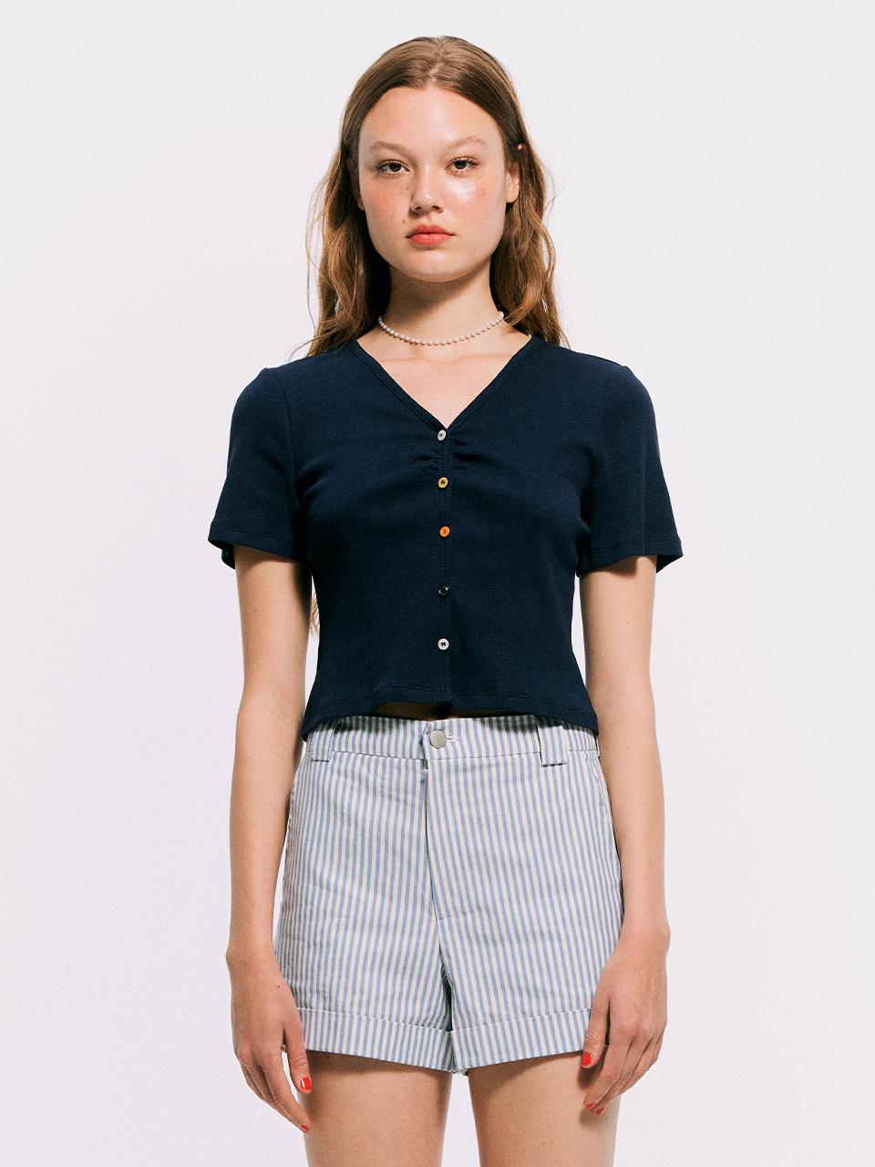 5 Color button cardigan Top_Navy