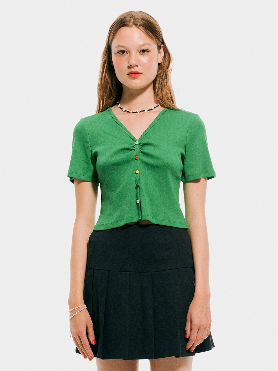 5 Color button cardigan Top_Green