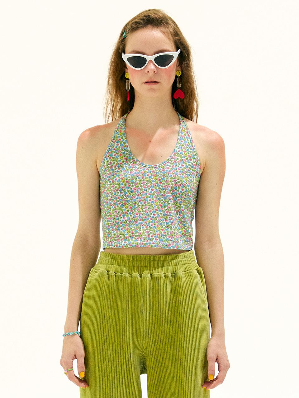 Flower Halterneck T-Shirt_Green