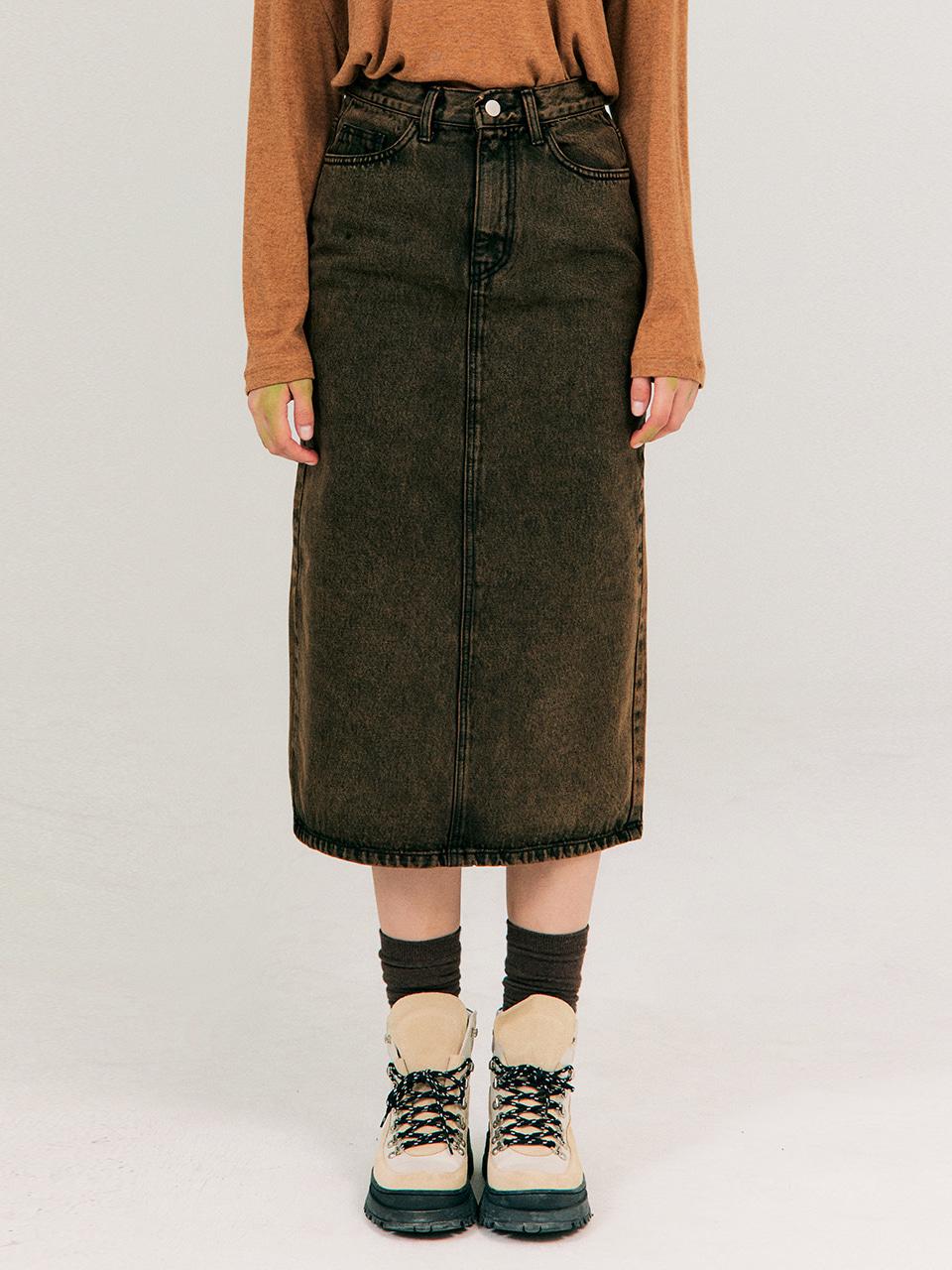 Color-dying Denim Skirt_Dark Brown