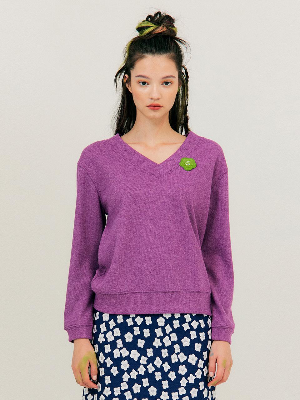 V-neck Melange T-Shirt_Purple