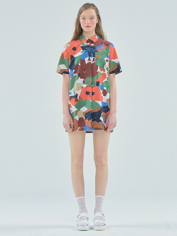 Flower shirts dress / Khaki