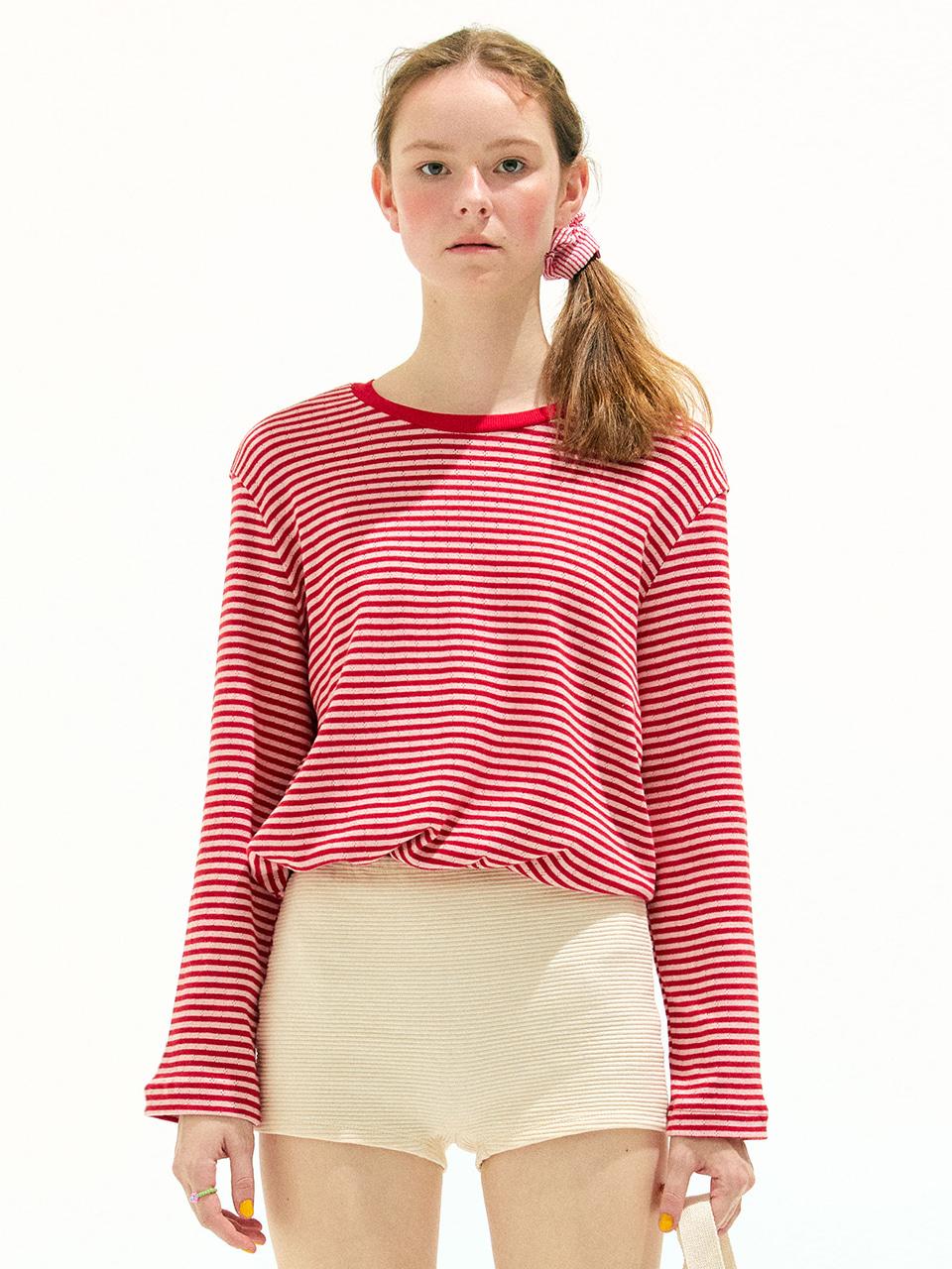 Stripe Blouson T Shirt_Red