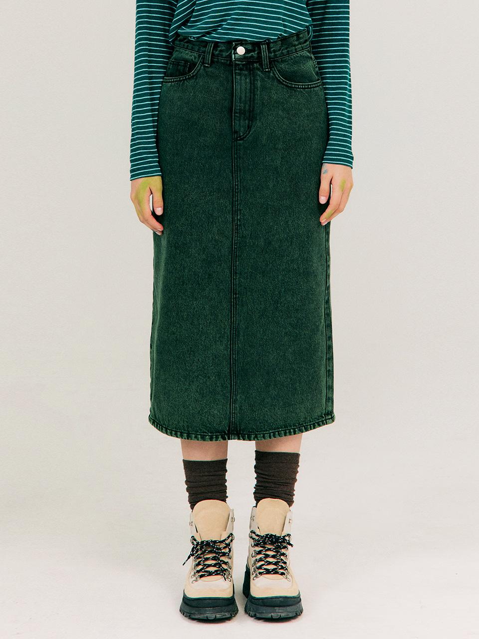 Color-dying Denim Skirt_Dark Green