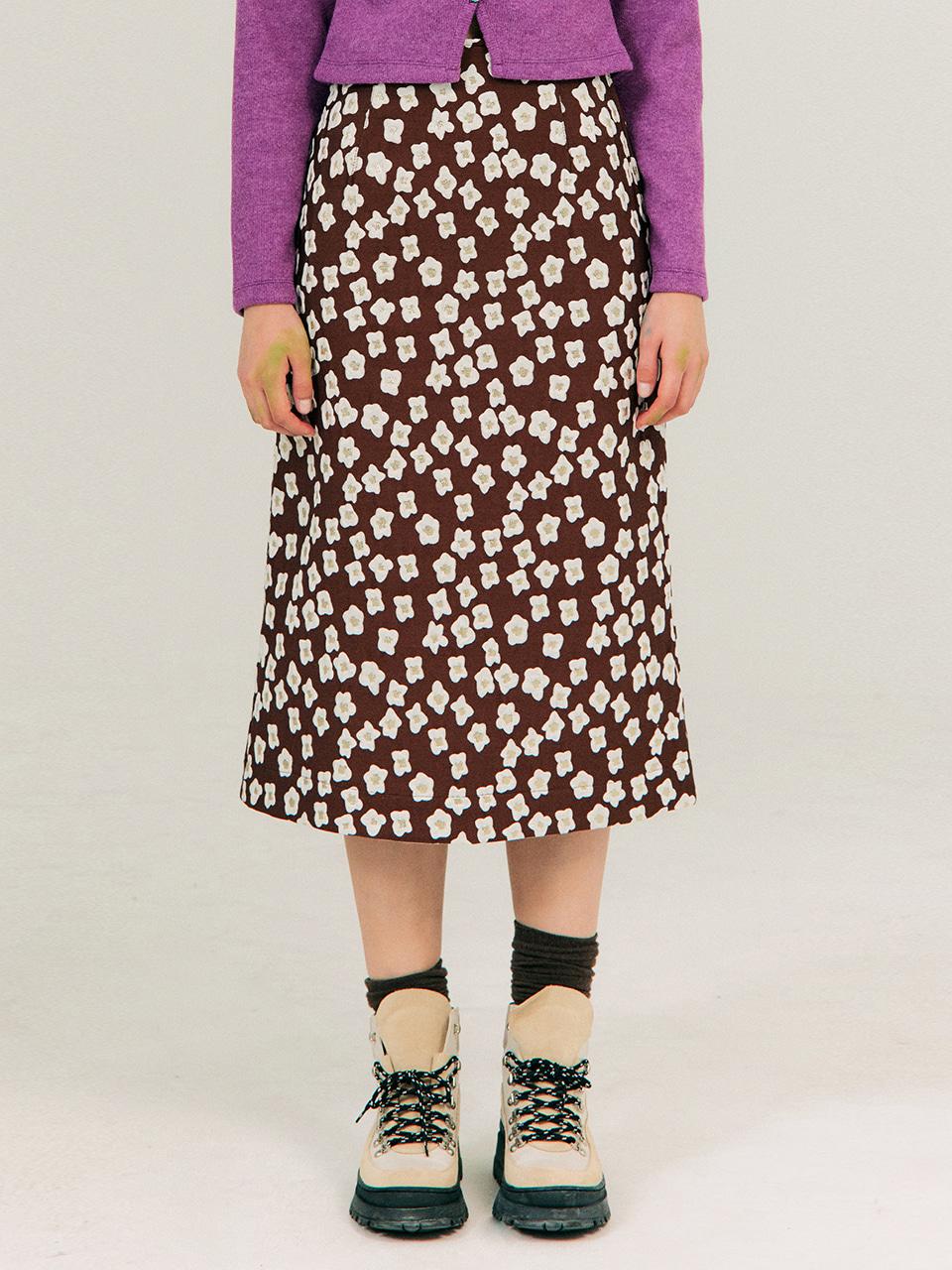 Jacquard A-Line Skirt_Brown